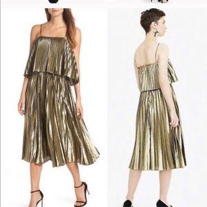Gold lame JCrew midi dress